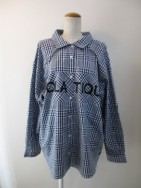 クーラ/COOLA Back Button Check BIG Shirt-nvy