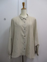 ミューニック Munich linen like triacetate light cloth back gathered blouse