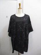ノラリリー Nora Lily CAT PATTERN BIG T-blk