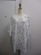 ノラリリー Nora Lily CAT PATTERN BIG T-wht