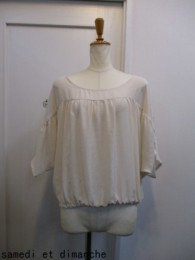 MuNich ミューニック gathered blouse-ecru