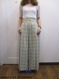 トゥデイフル TODAYFUL  Highwaist Check Trousers ベージュ