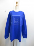 Nora Lily ノラリリー CAT柄 BIG LONGSLEEVE TEE  blue
