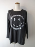 クーラ COOLA Bone Face Print ルーズ L/S Tee-dgry